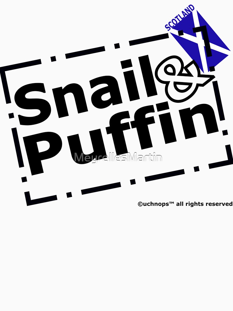 Snail and Puffin Scottish Flag Stamp by MeyrellesMartin
