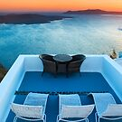Sunset in Santorini Greece with view to Caldera by Yen Baet