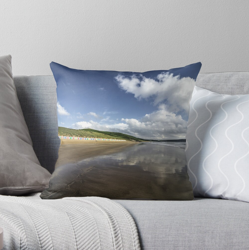 Woolacombe beach reflections Throw Pillow
