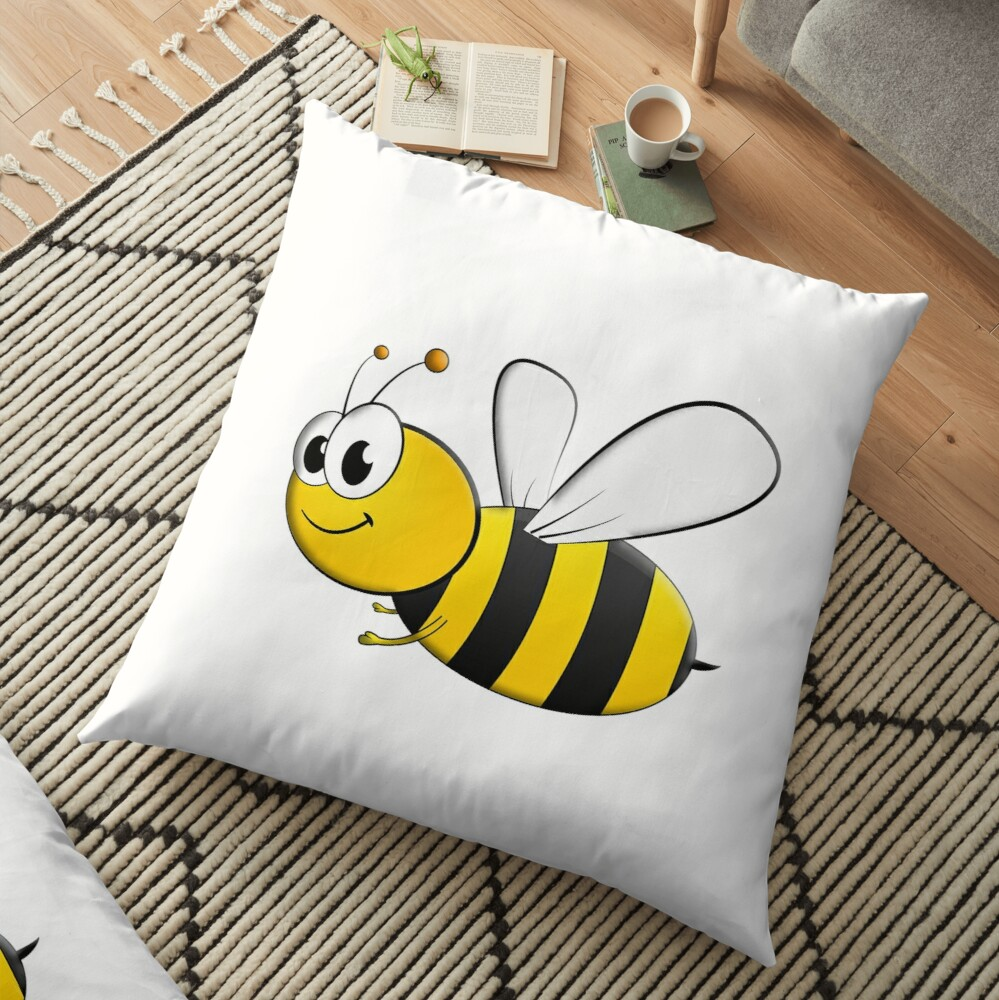 Cartoon Bee Bumble Flying Insects Kids Honey Floor Pillow By Tomsredbubble Redbubble