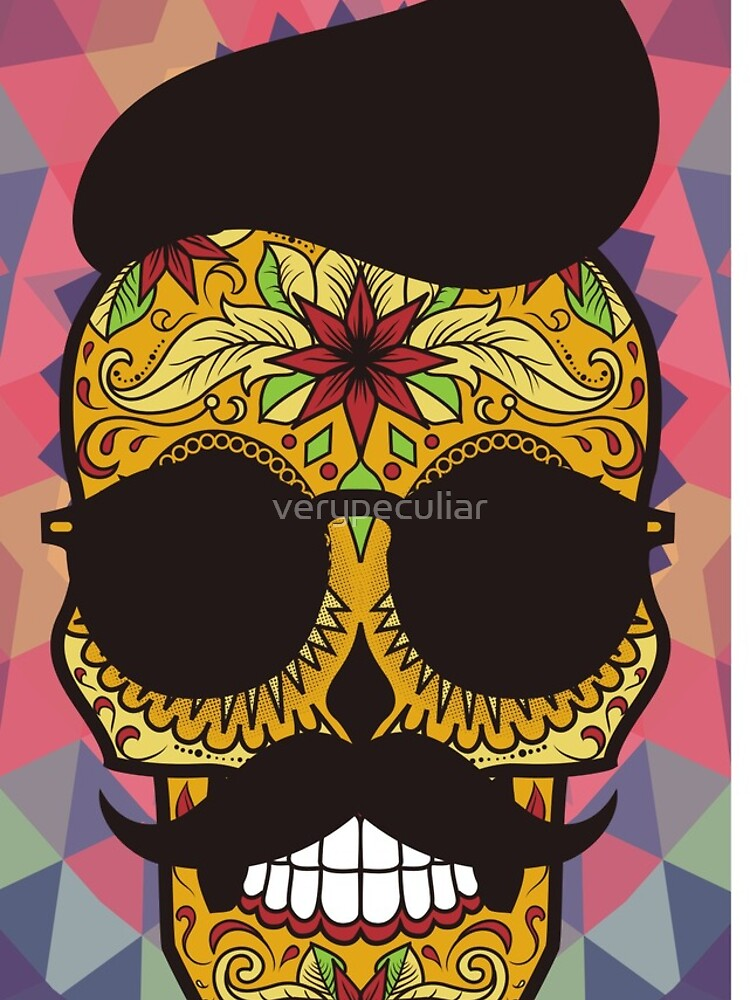 HOLA Day of the Dead art  - skull art by verypeculiar