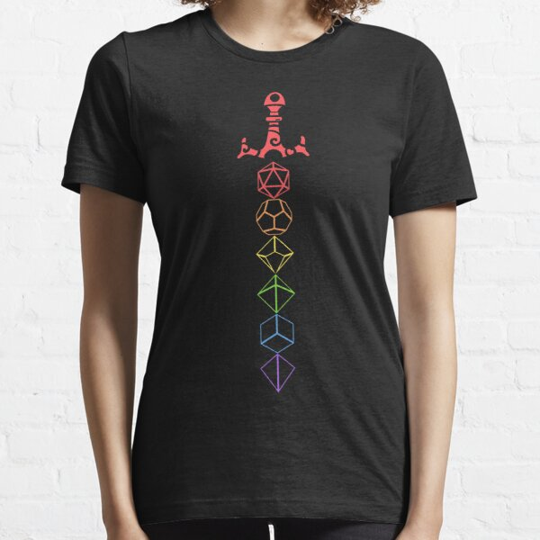 Rainbow Dice Sword LGBT Tabletop RPG Gaming Essential T-Shirt
