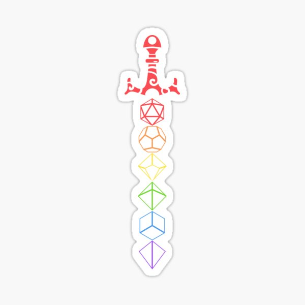 Rainbow Dice Sword LGBT Tabletop RPG Gaming Sticker