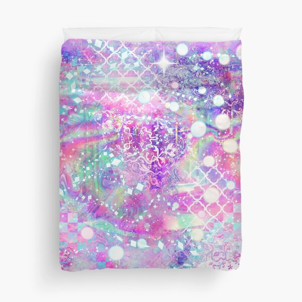 Pink Sparkly Holographic Duvet Cover