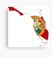 Flag Map of Florida  Canvas Print