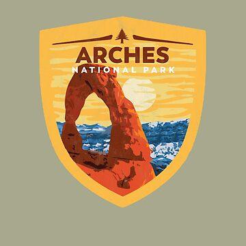 Vintage Arches National Park Badge - Retro Design by robotbasecamp