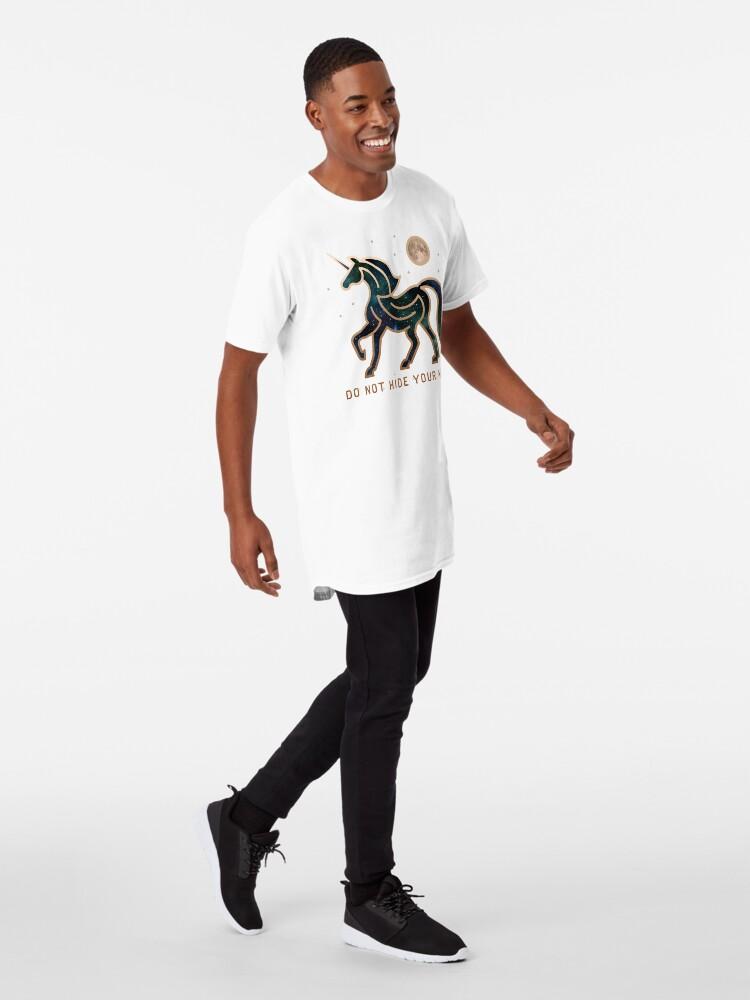 Vista alternativa de Camiseta larga No ocultes tu magia - Unicornio galáctico