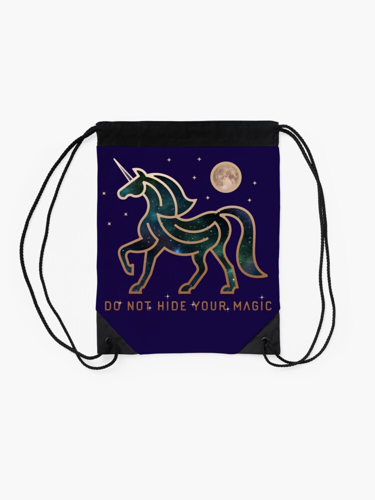 Vista alternativa de Mochila saco No ocultes tu magia - Unicornio galáctico