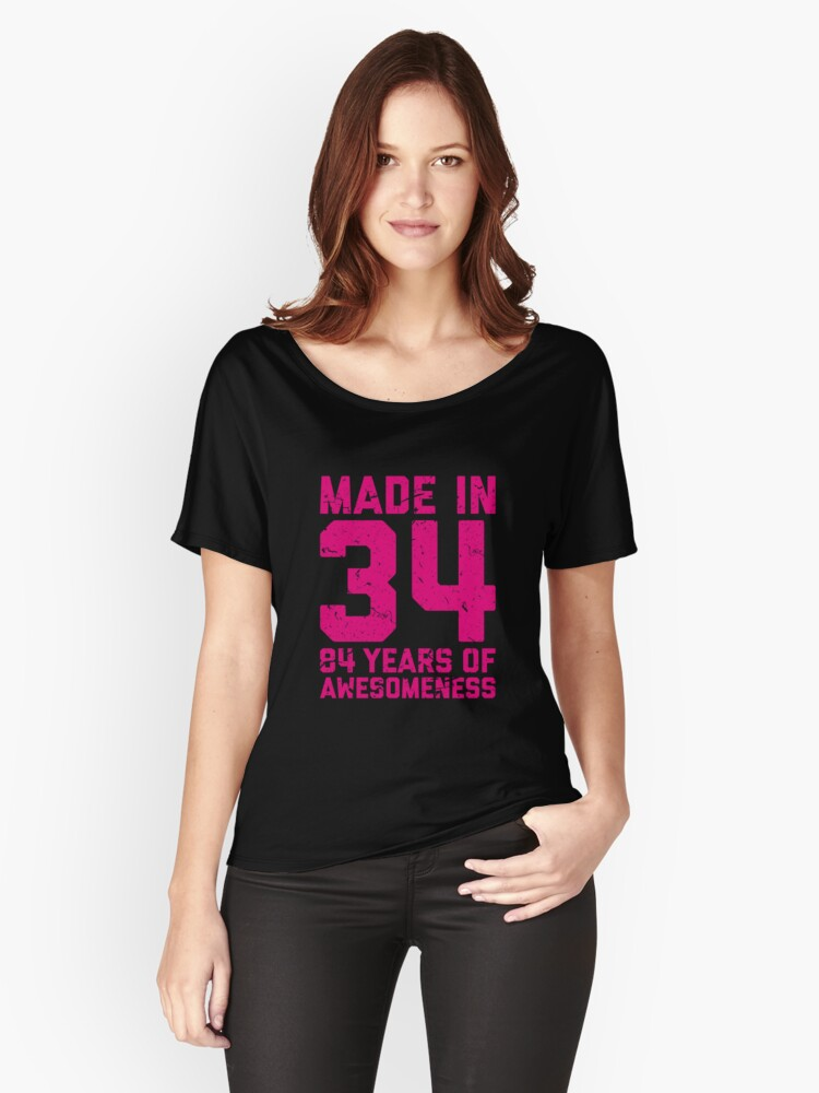 84th Birthday Gift Adult Age 84 Year Old Women Womens Relaxed Fit T Shirt By Mattlok