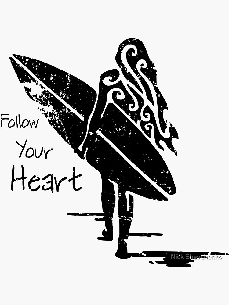 Follow Your Heart Surfing Girl Sticker By Onecurl