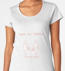 Man and woman with suitcases. Time to travel. Women's Premium T-Shirt