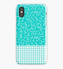 Hockney - Bright blue, memphis, 80s, 90s, swimming pool, summer turquoise design cell phone, phone  iPhone Case/Skin
