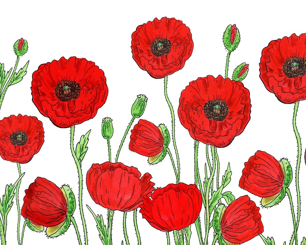 Red Poppies Field Of Flowers Watercolor Pattern by Irina Sztukowski  by Irina Sztukowski