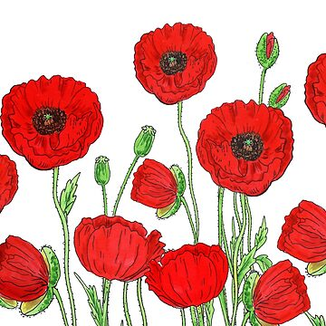 Red Poppies Field Of Flowers Watercolor Pattern by Irina Sztukowski  by IrinaSztukowski
