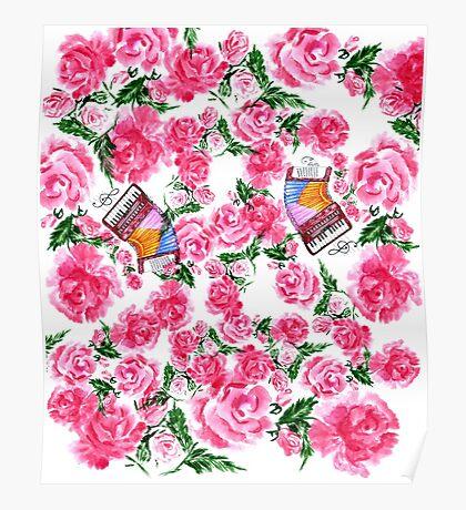Akkordeon mit Rosen Poster