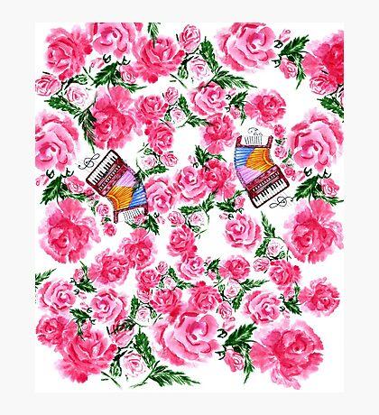 Akkordeon mit Rosen Fotodruck