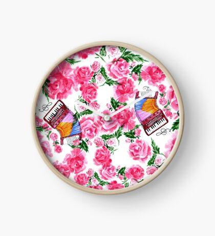 Akkordeon mit Rosen Uhr