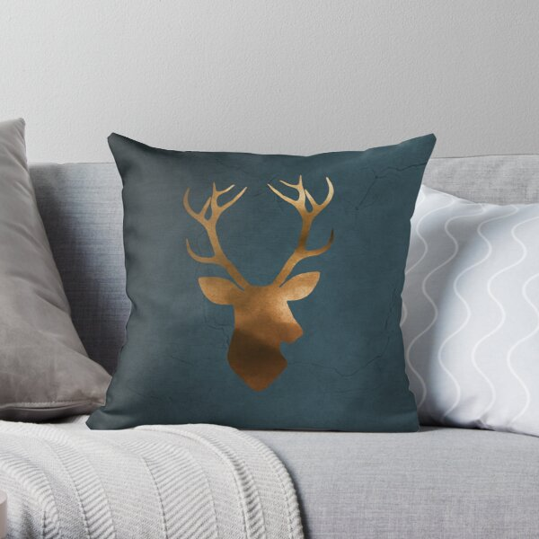 Deer head silhouette blue gold watercolor Throw Pillow
