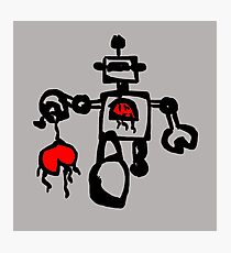 Running Robot with his Heart Ripped out, robot attack, graphic Photographic Print