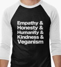 Empathy, Honesty, Humanity, Kindess & Veganism (White Lettering)  Men's Baseball ¾ T-Shirt
