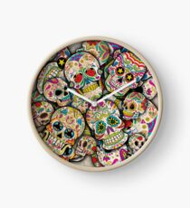 Sugar Skull Collage Clock