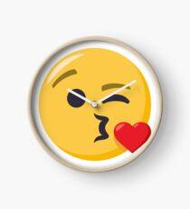 JoyPixels Face Blowing a Kiss Clock