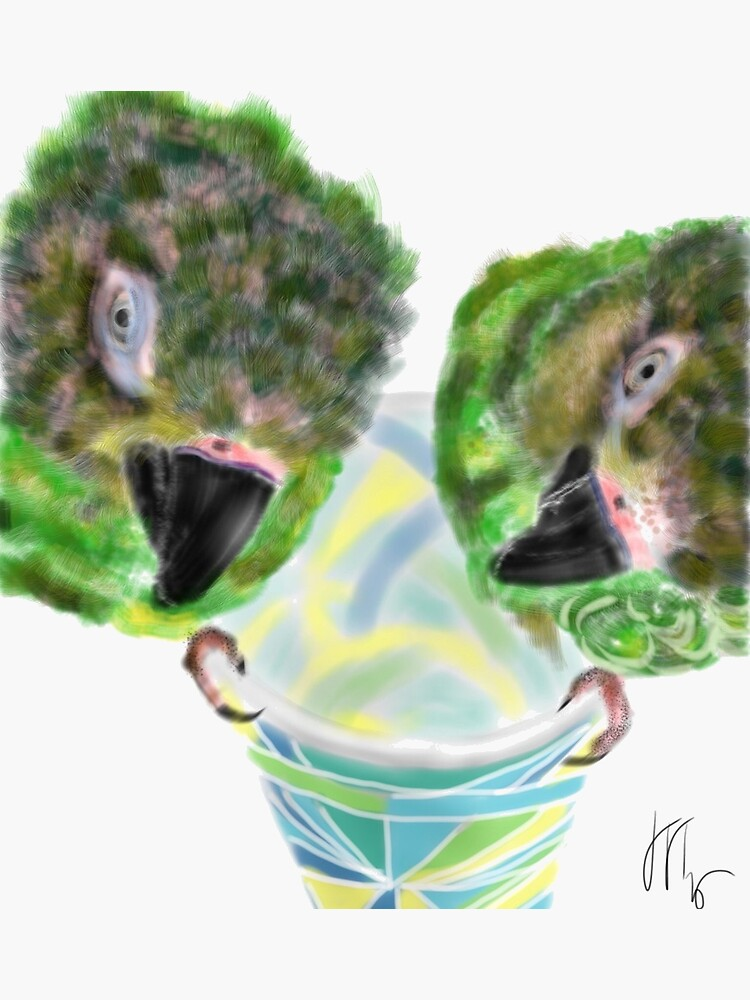 Two Naughty Parrots Sitting on a Cup by LITDigitalArt