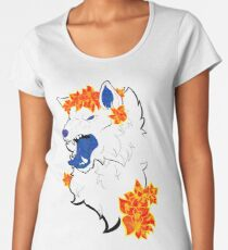 Starry Galaxy Wolf and Flowers Women's Premium T-Shirt