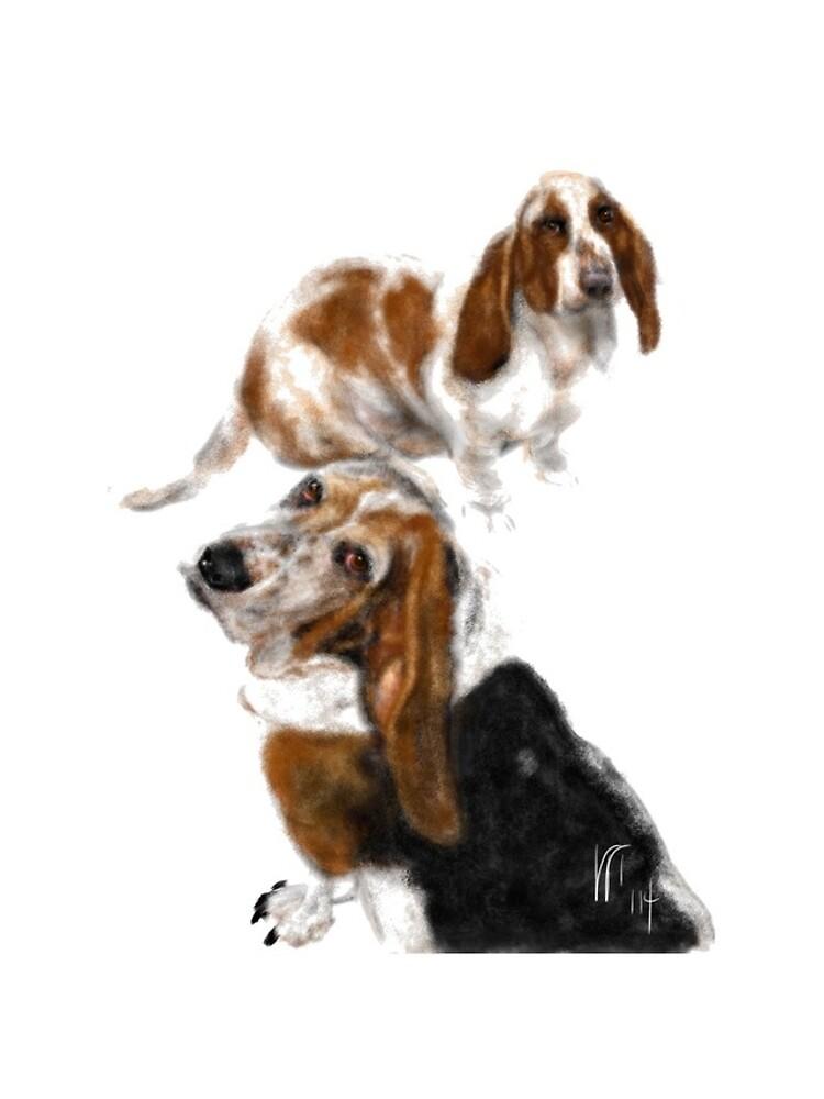Happy Basset Hound Best Friends  by LITDigitalArt