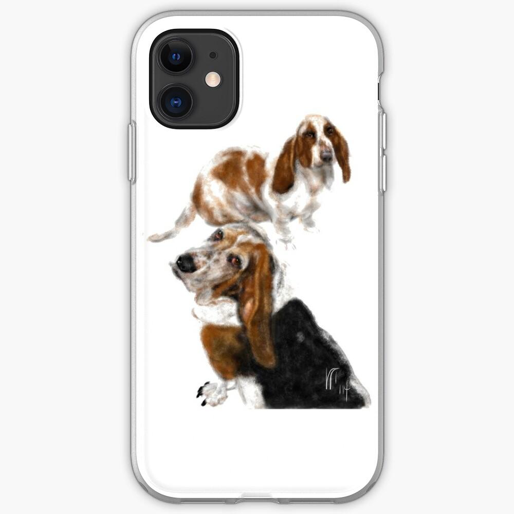 Happy Basset Hound Best Friends  iPhone Case & Cover