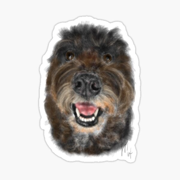 Happy Brown Fluffy Doodle Dog  Sticker