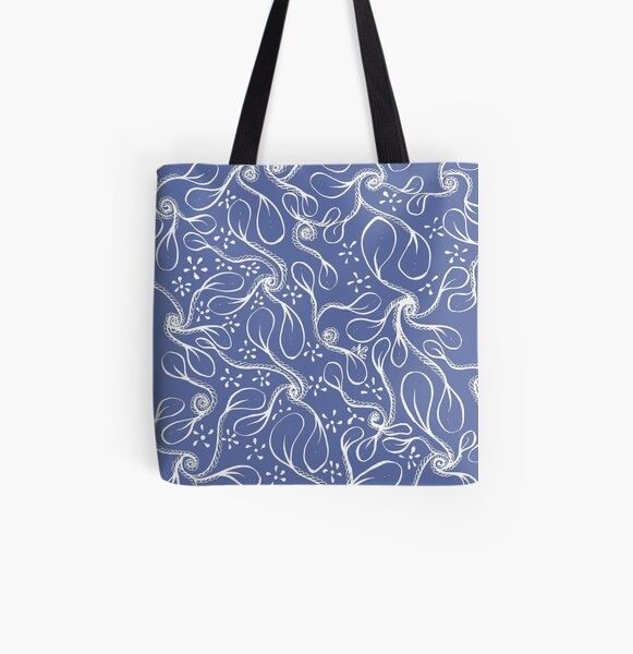 Zentangle Swirly-Leaves All Over Print Tote Bag
