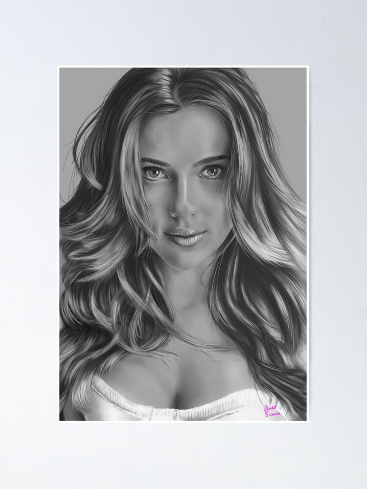 Scarlett Johansson Portrait Poster By Sionwalker Redbubble