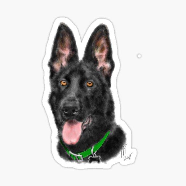 Smiling Black German Shepherd  Sticker