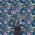 Black cat watching a blue fish tank by Andreea Dumez