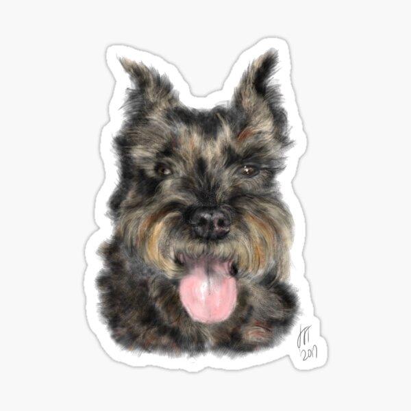 Smiling Brown Schnauzer Dog  Sticker