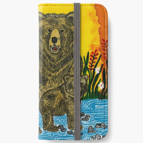Bear family by river iPhone Wallet