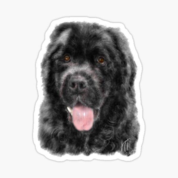 A custom hand painted digital image of a Smiling Black Newfoundland Dog Sticker