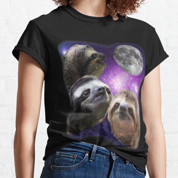 Three Sloths Howling At The Moon Funny Parody T-Shirt Classic T-Shirt