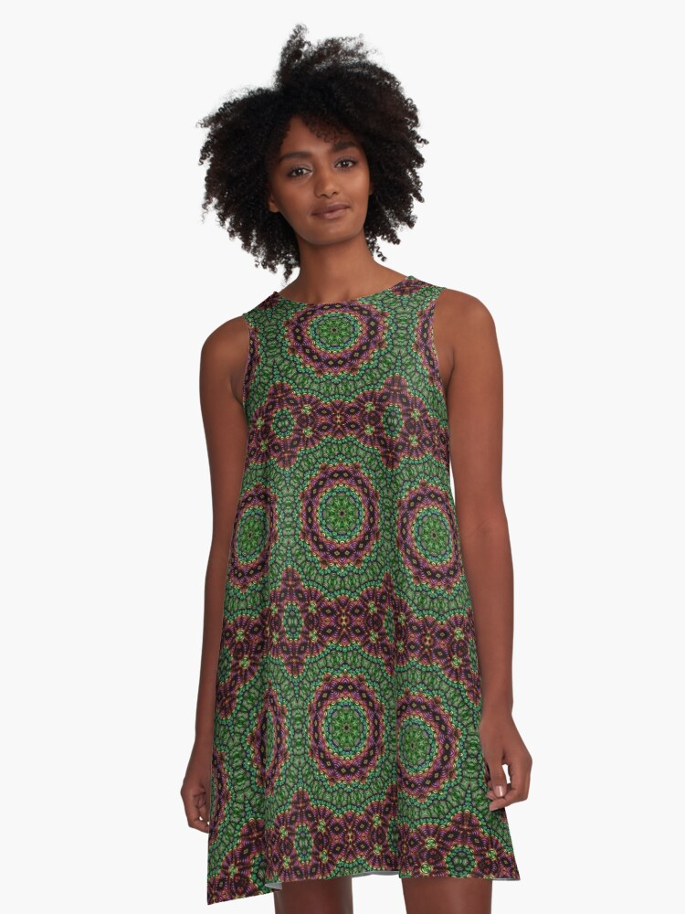 Curly Green and Pink Rainbow Kaleidoscope A-Line Dress Front