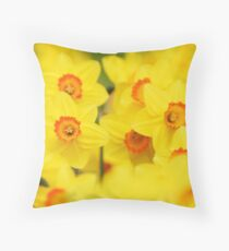 Happy yellow daffodils Throw Pillow