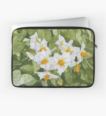 White Garden Blossoms Watercolor on Masa Paper Laptop Sleeve