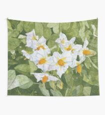 White Garden Blossoms Watercolor on Masa Paper Wall Tapestry