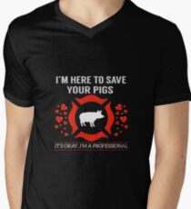 I'm here to save your pigs   pig shirt   pig gifts   pig clothes   bacon shirt   pork shirt   pig t shirt   bacon gifts   bacon tshirt Men's V-Neck T-Shirt