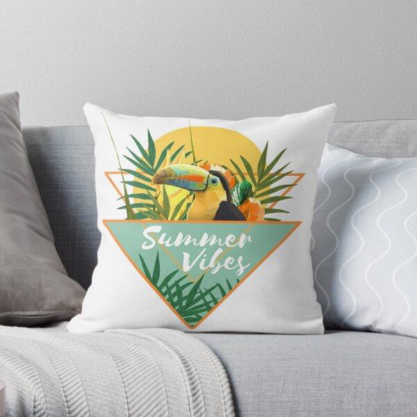 Sommer-Vibes-Typografie-tropischer Blumenstrauß mit Toucan Dekokissen