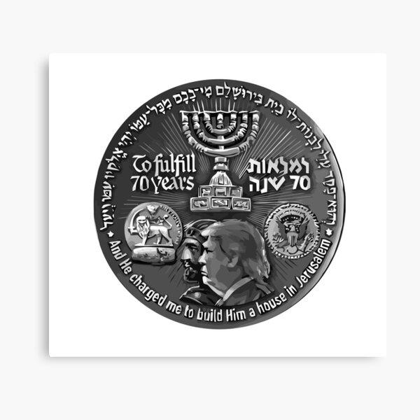 Israël 70 ans anniversaire Coin Art mettant en vedette Cyrus et Trump (avant) Impression sur toile