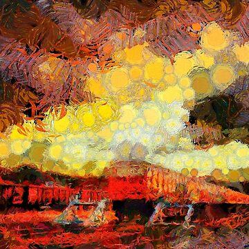 Train station with troubled skies by Ariela-Alez