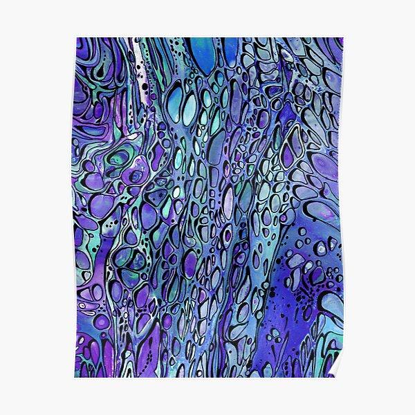Aqua and Purple - Paint Pour Print with Fineliner Pen Detail Poster