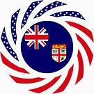 Fijian American Multinational Patriot Flag Series by Carbon-Fibre Media