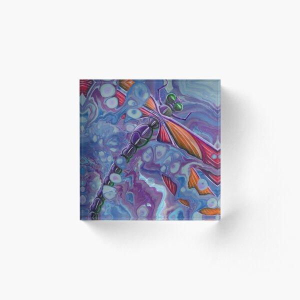 Purple Dragonfly, fluid art Acrylic Block
